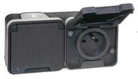 Double prise horizontale 2P+T - 1 poste - 16A - 250V - Gris