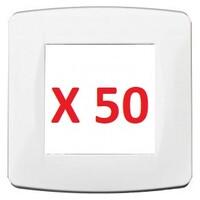 Plaque blanche 1 poste x50 pièces, Pack chantier EUR'OHM 61895